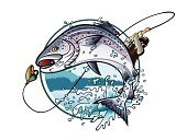 Salmon,Fishing,Fish,Jumping,Fishing Bait,Fisherman,Animals In The Wild,Lake,Wildlife,Men,Drawing - Art Product,Landscape,Fishing Rod,Ilustration,Weekend Activities,Vacations,Wilderness Area,Catching,Hobbies,Freshwater,Summer,Blue,Activity,Sport,Water,Animal,Pine,Vector,Recreational Pursuit,Outdoors,Intricacy,Fun,Mountain,Insignia,Park - Man Made Space,Male,National Landmark,Woodland,Tourism,Holding,Tree,Nature,Lifestyles,Animal Sport,One Person