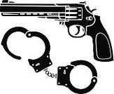 Handgun,Pistol,Gun,Arrest,Ilustration,Stencil,No People,Armoury,Isolated On White,Classic,Crime,Law,Punishment,Protection,Violence,Weapon,Isolated,Black Color,Security,Power,Justice - Concept,Elegance,Military