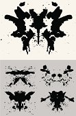 Rorschach Test,Black Color,Mental Illness,Test Method,Medical Test,Ink,Inkblots,Spray,Blood,Splashing,Vector