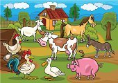 Cow,Livestock,Animal,Animal Themes,Rural Scene,Goat,Meadow,Cartoon,Tree,Horse,Ilustration,Characters,Pig,Donkey,Pasture,Duck,Cloud - Sky,Farm,Chicken - Bird,Drawing - Art Product,Fence,Set,Happiness,Eggs,Multi Colored,Spotted,Cheerful,Education,Animal Egg,Pony,Caricature,Vector,Collection,Grass,Hen,Cute,Rooster,Bush,Design,Clip Art,Village,Single Lane Road,Poultry,Cottage,Smiling