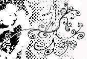 Women,Dancer,Dancing,Silhouette,Pattern,Female,Outline,Swirl,Pink Color,Halftone Pattern,City Life,Retro Revival,Floral Pattern,Vector,Abstract,People,Design,Halftone Pattern,Beauty,Motion,Curve,Fun,Lifestyles,Horizontal,Funky,handcarves,Image Created 2000s,Illustrations And Vector Art,People,Ilustration,One Person,Ornate,Nightlife,Performance,Physical Activity