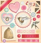 Bee,Old-fashioned,Retro Revival,Beehive,Sewing,Romance,Heart Shape,Photo Corner,Ribbon,Lace - Textile,Bird,Ilustration,Ribbon,Beauty In Nature,Scrapbook,Nostalgia,Greeting,Celebration,Button,hand drawn,Beautiful,Wedding,Greeting Card,Invitation,Elegance,Drawing - Art Product,Chevron,Valentine's Day - Holiday,Honey Bee