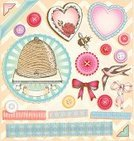 Beehive,Bee,Old-fashioned,Retro Revival,Bird,Chevron,Scrapbook,Photo Corner,Drawing - Art Product,Nostalgia,Heart Shape,Button,Ribbon,Lace - Textile,Antique,Greeting Card,Sewing,Romance,Elegance,Valentine Card,hand drawn,Ilustration,Celebration,Beautiful,Valentine's Day - Holiday,Wedding,Invitation,Honey Bee