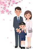 Springtime,Family,Pink Color,Japanese Ethnicity,Japanese Culture,Japan,Father,Cultures,enrollment,April,Blue,Childhood,Suit,Ceremony,Satchel - Bag,Son,Formalwear,Petal,Ilustration,Men,Little Boys,Flower,Cherry Blossom,Cartoon,Backpack,Child,Women,Elementary School,Student,Uniform,Sibling,commemorative,Education,Mother,Event,People,Season,Parent,March,Looking Straight,School Children,Elementary Student,Elementary Age,Portrait,Schoolboy,Beautiful,Falling,Eps10,Yoshino Cherry,Branch