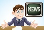 Newscaster,Men,Cartoon,Studio,Cute,Journalist,Broadcasting,News Event,Ilustration,Reading,Commentator,Entertainment,Television Host,Clip Art,Drawing - Art Product,Television Set,Professional Occupation,Concepts,TV Reporter,One Person,Cheerful,Presenter,Characters,Vector,Tie,Male,Television Broadcasting,The Media,Retro Revival,Old-fashioned,People,Communication,Fun,Visual Screen,Smiling,Suit