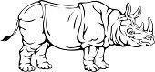 Animal,Rhinoceros,White,Black Color,Large,Wildlife,Horned,Isolated,Pachyderm,Animals In The Wild,Tusk,Profile View,Outline,Mammal,Drawing - Art Product,Isolated On White,Herbivorous,Contour Drawing,Ilustration,Vector,Safari Animals,Standing