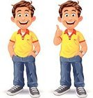 Child,Jeans,People,Little Boys,Success,Shirt,Pants,Full Length,Thumbs Up,Casual Clothing,Laughing,Human Hand,Schoolboy,Sports Shoe,Cartoon,Ilustration,White Background,Adolescence,Vector,OK,Elementary Age,Caucasian Ethnicity,Yellow,Happiness,Isolated On White,Talking,Portrait,Pocket,Male,Looking At Camera,Cute,Cut Out,Confidence,Standing,Gesturing,Small