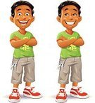 Child,Vector,Smiling,Talking,African Ethnicity,Laughing,Adolescence,Sports Shoe,Little Boys,People,T-Shirt,Ilustration,Portrait,Arms Crossed,Happiness,Full Length,Small,African Descent,Cut Out,Cartoon,Cute,Pants,Smirking,Key,Elementary Age,White Background,Standing,Male,Casual Clothing,Schoolboy,Green Color,Confidence,Shorts,Isolated On White,Looking,Looking At Camera