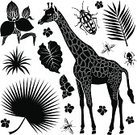 Palm Leaf,Leaf,Africa,Animal,Set,Black And White,Giraffe,Nature,Tropical Climate,Mammal,Symbol,Icon Set,Disa Orchid,Assassin Bug,Spotted,Insect,Fly,Tropical Rainforest,Cartoon,Orchid,Computer Icon,Tall,Ilustration,No People,Design Element,Beetle,Rainforest,Vector,Clip Art