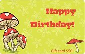 Grass,Color Image,Greeting Card,Cartoon,Ilustration,Vibrant Color,Vector,Child,Backgrounds,Mushroom,Flower,Birthday,Spotted,Green Color,Incomplete,Red,Gift Card