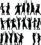 Monochrome,People,Happiness,Success,Black And White,Cap,Dancing,Cheerful,Party - Social Event,Graduation,Disco Dancing,Black Color,Silhouette,One Person,Graduation Gown,Mortarboard,Adult,Young Adult,Cut Out,Outline,Tracing,Nightclub,Illustration,Group Of People,Men,Young Men,Women,Young Women,Dancer,Vector,Student,White Background,Monochrome,Adults Only,Silhouette,Cap