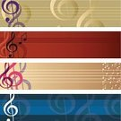 Sheet Music,Music,Musical Staff,Backgrounds,Musical Note,Banner,Entertainment,Treble Clef,Blue,Abstract,Copy Space,Ilustration,No People,Symbol,Gold Colored,Set,Scroll Shape,Horizontal,Pattern,Design,Turquoise,Black Color,White,Beige