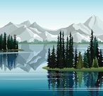 Water,Mountain,Tranquil Scene,Forest,Pine Tree,Backgrounds,Lake,Reflection,Nature,Vector,Blue,Green Color,Landscape,Larch Tree,Rock - Object,Season,Summer,Ilustration,Plant,Idyllic,Outdoors,Morning,Group of Objects,Spruce Tree,Non-Urban Scene,Sky