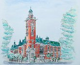 Watercolor Painting,Horizontal,Japan,Landscaped,Community Center,Building Exterior,Built Structure,Brick,Tower,Old-fashioned,Famous Place,Image,Outdoors,Art And Craft,Art,Paintings,History,Red,Green Color,No People,Architecture,Yokohama,Tree,Brick Wall,Old,Jack,Roadside,Kanagawa Prefecture,Painted Image,Facade