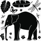 Elephant,Leaf,Taro,Banana Leaf,Profile View,Side View,Black And White,Tropical Climate,Africa,Nature,Insect,Clip Art,Set,Design Element,Tropical Rainforest,Large,Butterfly - Insect,Dragonfly,Animal,Fly,Symbol,Assassin Bug,Icon Set,Mammal,Rainforest,Cartoon,Walking,Ilustration,No People,Vector,Computer Icon
