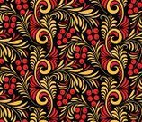 Seamless,Gold Colored,Paintings,Floral Pattern,Backgrounds,Russian Culture,Rowanberry,Red,Berry Fruit,Cultures,hohloma,Flower,Twig,Craft Product,Black Color,Ilustration,Pattern,Leaf,Branch,Plant,Russian Ethnicity,Backdrop,Tracery,Textured,Vector,Currant