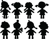 People,Clothing,Dress,Dress Shoe,Hat,Doll,Black Color,Small,Child,Illustration,Girls,Vector,Silhouette Eyewear,Clip Art