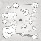Speed,Cloud - Sky,Exploding,Fluffy,Vector,Cartoon,Punching,Lightning,Footpath,Flying,Ilustration,Collection,Banner,Weather,Wind,Flowing,Storm,Sun,Set,Gray,White,Energy,Placard