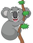 Koala,Ilustration,Humor,Tree,Branch,Mammal,Animal,Wildlife,Marsupial,Smiling,Characters,Vector,Cartoon,Cute,Gray