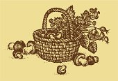 Basket,Fungus,Sketch,Forest,Food,Rural Scene,Wicker,Leaf,Eating,Flower,Fruit,Wood - Material,Symbol,Cepe,Computer Graphic,Pencil Drawing,Uncultivated,Season,Ilustration,Drawing - Art Product,Autumn,tare,Twig,Still Life,Backgrounds,Woven,Berry Fruit,Vector,Edible Mushroom,Textured,Vegetarian Food,Braided,boletus,Summer,Healthy Eating,Nature,Ink,yellowed,Crop,Mushroom,Textured Effect,Engraved Image