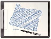 Oregon,Blue,Paper,White,Note Pad,Ballpoint Pen,Direction,USA,state,US State Border,Equipment,Document,Pen,Clipboard,Topography,Map,Ink,Design,Sheet,Notebook,Clip,Vector,Pencil Drawing,Ilustration,Single Object,Sketch,International Border