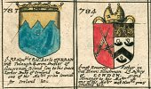 Engraved Image,Old-fashioned,Sign,Antique,heraldic,Island of Arran,Family Tree,Publication,Ilustration,Image Created 17th Century,Print,Bishop of London,Tullough,Blome's Atlas,Ornate,copperplate,Symbol,England,Paper,Coat Of Arms,armorial,Roll Of Arms,Blome,Decoration,Family,History,Friendship,British Culture,Cultures,London - England