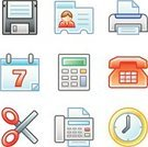 Fax Machine,Religious Icon,Telephone,ID Card,Symbol,Computer Icon,Calendar,Icon Set,Office Interior,Disk,Computer Printer,Floppy Disk,Clock,Business,Set,Calculator,Clock Face,Interface Icons,Scissors,Safety Scissors,Printout,Illustrations And Vector Art,Communication,Isolated On White,web icon,Concepts And Ideas