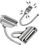 Network Connection Plug,Clip Art,Isolated On White,Black And White,SCSI Cables,Vector,Ilustration,Computer Cable