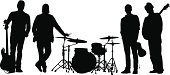 Musical Band,Silhouette,Black Color,Entertainment,Music,The Human Body,Outline,Guitar,Drum Kit,Computer Graphic,Ilustration,Performer,Group Of People,Digitally Generated Image,People,Focus on Shadow,Vector,Men,Four People