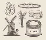 Bread,Old-fashioned,Flour,Engraved Image,Mill,Bakery,Cereal Plant,Lithograph,Baguette,Ilustration,Equipment,Drawing - Art Product,Farm,Homegrown Produce,Wholegrain,Baking,Grained,Old,English Culture,Bun,Healthy Eating,British Culture,Sweet Bun,Nature,Vector,Environment,Healthy Lifestyle