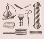Barber,Shaving,Old-fashioned,Scissors,Engraved Image,Shaving Brush,Ilustration,Equipment,Razor Blade,Perfume,Men,Hygiene,Old,Bar Of Soap,Hairbrush,Bath Brush,Vector,Drawing - Art Product,British Culture,Lithograph,Blade,English Culture