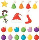 Santa Hat,Christmas Stocking,Tree Topper,Christmas Ornament,Christmas,Candy Cane,Candy,Green Color,Decoration,Christmas Decoration,Knick Knack,Vector,Blue,Celebration,Vibrant Color,Winter,Concepts And Ideas,Color Image,Star Shape,December,Red,Ilustration,Pink Color,Ribbon,Purple,Bright,Time,Holiday,Multi Colored,Objects/Equipment,Orange Color