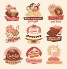 Milkshake,Ice Cream,1940-1980 Retro-Styled Imagery,Sign,Cake,Old-fashioned,Muffin,Child,Label,Pie,Sugar,Candy,Chocolate Candy,Symbol,Lollipop,Donut,Chocolate,Dessert,Paintings,Design,Shape,Cute,Sweet Food,Cream,Style,Pink Color,Set,typographic,Food,Insignia,Design Element,Geometric Shape