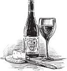 Wine Bottle,Drawing - Art Product,Cheese,Still Life,Cutting Board,Glass,Sketch,Bottle,Alcohol,Winemaking,Wineglass,Table Knife,Isolated On White,Transparent,Doodle,Drink