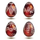 Cultures,Easter,Eggs,Set,Red,Backgrounds,Holiday,Ilustration,Ornate,Vector