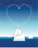Valentine's Day - Holiday,Love,Polar Bear,Valentine Card,Separation,White,Shiny,Deep,Desire,Cool,Heart Shape,Arctic,Winter,Cold - Termperature,Celebration,Frost,Floating On Water,Christmas,Vector,One Animal,Iceberg - Ice Formation,Star - Space,Looking,Sky,Remote,Bear,Snow,Concepts,Blue,Empty,Fur,Loneliness,Freshness,Astronomy,Icecap,Illuminated,Night,North Star,Frozen,Ice,Cute,Paw,Sea,Cartoon,Horizon,Reflection,Space,black nose
