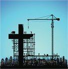 Construction Site,Church,Construction Industry,Building - Activity,Building Exterior,Built Structure,Cross,Cross Shape,Modern,Scaffolding,Crane - Construction Machinery,City,Christianity,Silhouette,Concepts,Ideas,Making,Spirituality,Protestantism,Vector,Architecture,Praying,New,Tracing,Blue,Construction Vehicle,Outline,Urban Skyline,Cityscape,Black Color,Catholicism,Ilustration