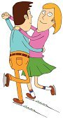 Clip Art,Young Family,Dancing,Men,Cheerful,Fun,Cartoon,Happiness,Speed,Ice,Ilustration,Love,Romance,Characters,People,Shoe,Couple,Blade,Vector,Two Parents,Women