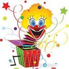Jester,Fool,Firework Display,Jack-in-the-Box,Confetti,Star Shape,Clown,Human Face,Cheerful,White,Gift,Birthday,Humor,Human Head,Laughing,Smiling,Puppet,Box - Container,Fun,Happiness,Joy,Surprise,Decoration,Making a Face,Crank,Ilustration,Bouncing,Isolated On White,Toy,Vector,White Background,Ribbon,Cartoon,Circus,Open,Multi Colored,Isolated