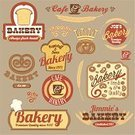 Bakery,Sign,Retro Revival,Donut,Bread,Old-fashioned,Wheat,Business,Wire Whisk,Vector,Baked,Label,Pretzel,Store,Symbol,Badge,Computer Graphic,Ilustration,Merchandise,Set,Ornate,Cap,Spiked,Brown,Quality Control,premium,Curve,Collection,Cup,Insignia,Design Element,Cafe