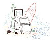 Beach,Ilustration,Suitcase,Doodle,People Traveling,Travel,Single Object,Beach Ball,Surfboard,Cloudscape,Sea,Drawing - Art Product,Travel Destinations,Luggage,Tourism,Starfish,Surf,Design,Bag,Cloud - Sky,Summer,Nature,Surfing,Vacations