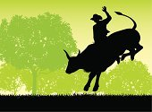 Bull Riding,Rodeo,Cowboy,Bull - Animal,Silhouette,Bucking,Animal,Entertainment Event,Event,Mammal,Vector,Ilustration,Gripping,Animal Sport