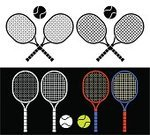 Tennis,Crossing,Tennis Racket,Racketball,Symbol,Sport,Badminton,Entertainment,Pair,Recreational Pursuit,Leisure Games,Isolated On White,Isolated On Black,Set,Grid,Ball,Sign,Insignia,Court,Vector,Racket,Personal Accessory,Isolated,Leisure Activity,Single Object,White,Competition,Play,Hobbies,Black Color