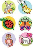 Snail,Rabbit - Animal,Domestic Cat,Butterfly - Insect,Chicken - Bird,Sheet,Bird,Carrot,Blue,Pets,Colored Background,Animal Themes,Application Form,Yellow,Ladybug,Chamomile Plant