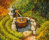 Fountain,Gardening,Formal Garden,Zen-like,Fine Art Painting,Japanese Culture,Landscaped,Asia,Japan,Ilustration,Autumn,Flower,Paintings,Rock - Object,Cultures,Multi Colored,Tranquil Scene,Relaxation,Image,Summer,Electric Lamp,Decoration,Lake,Bamboo,Artist's Canvas,Flowing,Stone,East Asian Culture,Impressionism,Nature,Drop,Art Product,Water,Pond,Park - Man Made Space