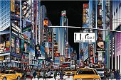 New York City,Street,Urban Scene,City,Ilustration,Pencil Drawing,Drawing - Art Product,Taxi,Retail,Vector,Shopping,Crossroad,Night,Crowd,USA,Advertisement,Limousine,Manhattan,Store,People,Famous Place,Billboard,Built Structure,Women,Commercial Sign,Illuminated,Traffic,Town,Cityscape,City Life,Architecture,American Culture,Tower,Men,Tourism,Unity,Pedestrian