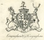 Family Tree,Engraved Image,History,County Donegal,Ilustration,Image Created 18th Century,Print,Mount Charles,Rossgul,Latin Script,Viscount Conyngham,Motto,Coat Of Arms,Peerage Title,Over Fork Over,Conyngham,Lords,Republic of Ireland,Cunningham,Family