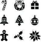 Christmas,Poinsettia,Silhouette,Christmas Tree,Holly,Symbol,Gift,Computer Icon,Wreath,Holiday,Box - Container,Vector,Candy Cane,Bell,Black And White,Candy,Bow,Bow,Gingerbread Man,Decoration,Close-up,Celebration,Medium Group of Objects,No People
