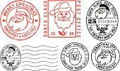 Santa Claus,Rubber Stamp,Postage Stamp,Postmark,Alphabet,Christmas,Christmas Card,Mail,Package,Celebration,Send,Religious Celebration,Greeting Card,Wishing,Ink,Winter,Reindeer,Human Face,Greeting