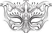 Costume,Mask,Venice - Italy,Vector,Ilustration,filigree,Drawing - Art Product,Black Color,Victorian Style,Swirl,Line Art,Calligraphy